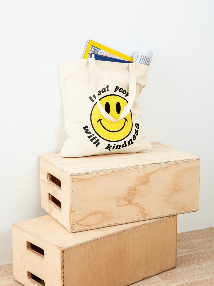 Alternate view of treat people with kindess smiley face Tote Bag