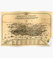 Panoramic Maps Graphic chart of the city and county of San Francisco Poster