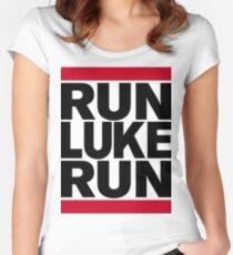 RUN LUKE RUN (Black font) Women's Fitted Scoop T-Shirt
