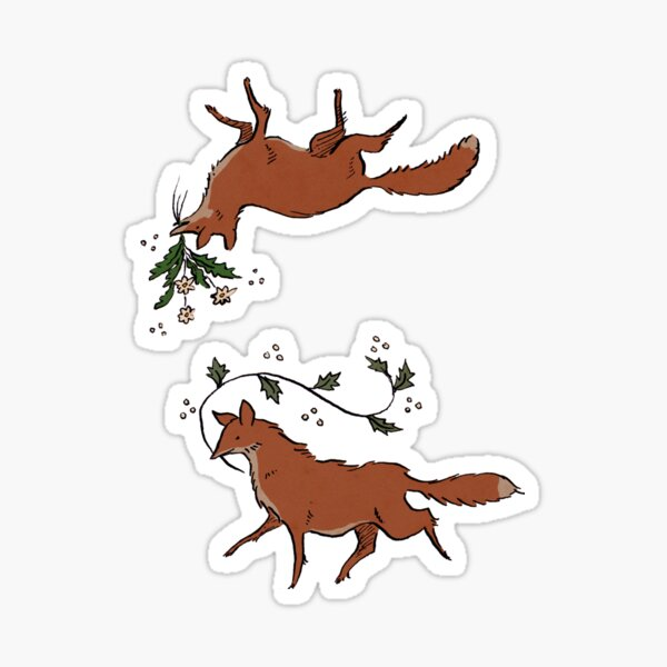Floral foxes Sticker