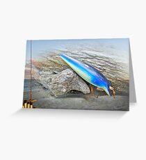 Vintage Fishing Lure - Floyd Roman Nike Blue and White Greeting Card