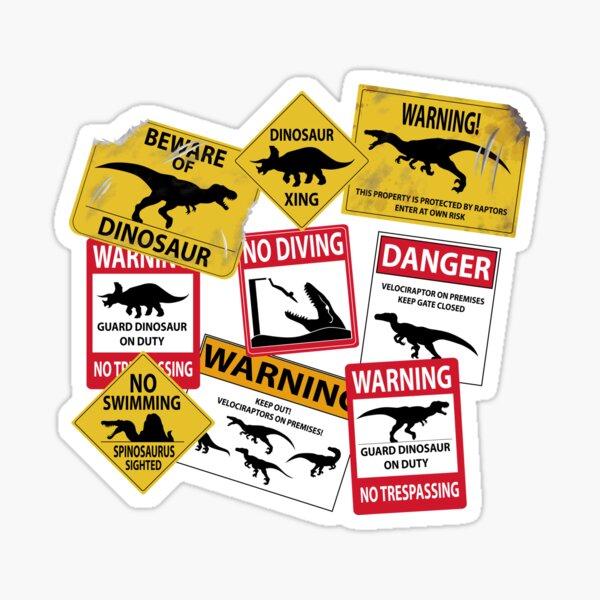 Dinosaur Caution Signs Sticker