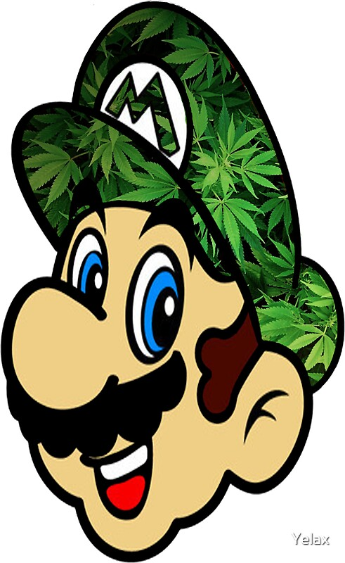 Quot Weed Mario Quot Stickers By Yelax Redbubble
