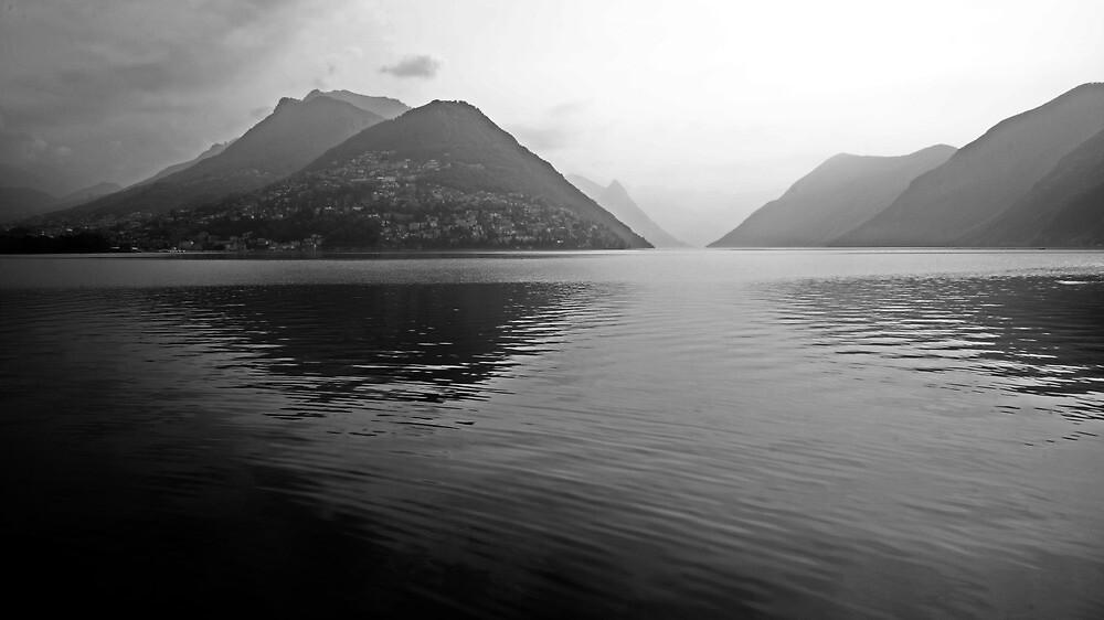 morning haze on Lake Lugano from Lugano Paradiso by bartfrancois