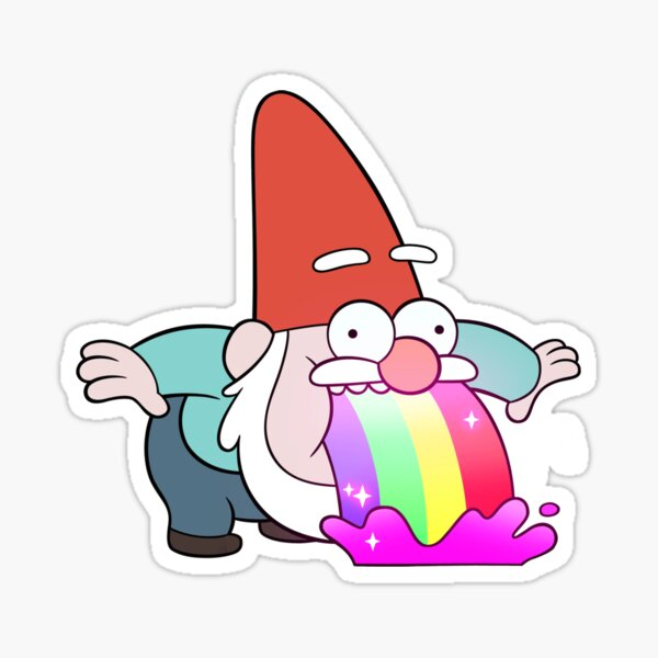 Gnome de vomissements arc-en-ciel Sticker