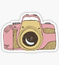 DSLR Camera Pink Doodle Illustration Drawing Tshirt Sticker Sticker