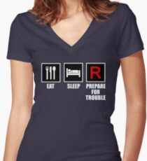 Eat, Sleep, Prepare for Trouble! Women's Fitted V-Neck T-Shirt