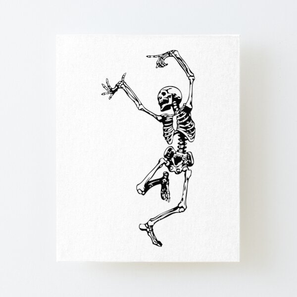 Dancing Skeleton   Day of the Dead   Dia de los Muertos   Skulls and Skeletons   Black and White    Canvas Mounted Print
