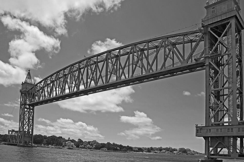Cape Cod Railroad Bridge B&W  by John  Kapusta