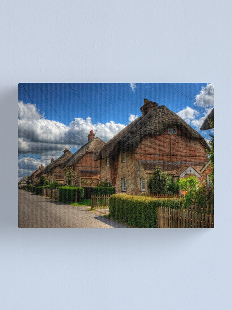Alternate view of A Row of Thatched Houses in East Stratton Canvas Print