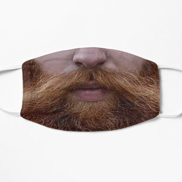 Hipster Red Beard Photo Realistic Men's  Flat Mask