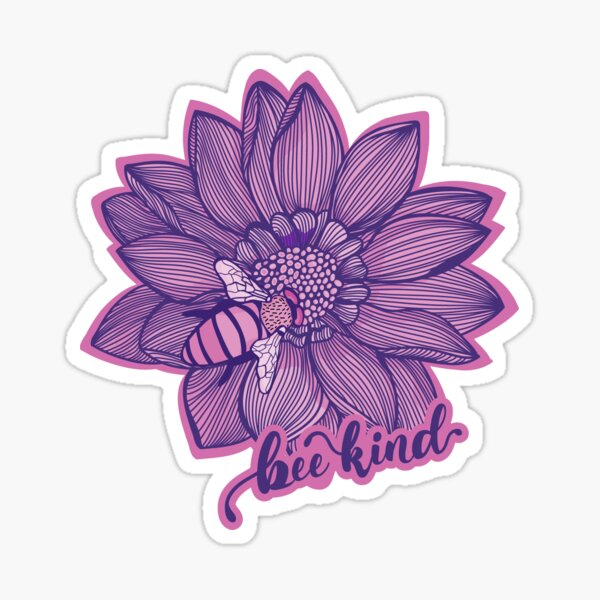 Bee Kind Flower Quote - Pink & Blue Color Palette Sticker