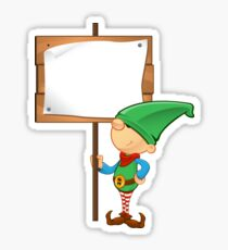 Elf Character - Holding Wooden Sign Sticker