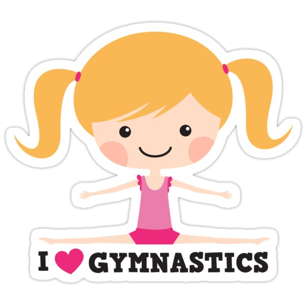 Quot I Love Gymnastics Cute Blond Cartoon Girl Doing The Splits Quot Stickers By Mheadesign Redbubble