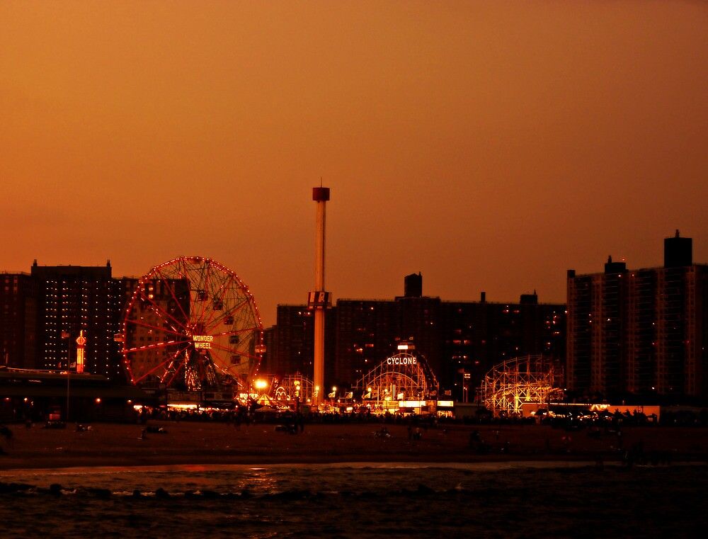 Coney Island at Sunset - Brooklyn - New York City by Vivienne Gucwa