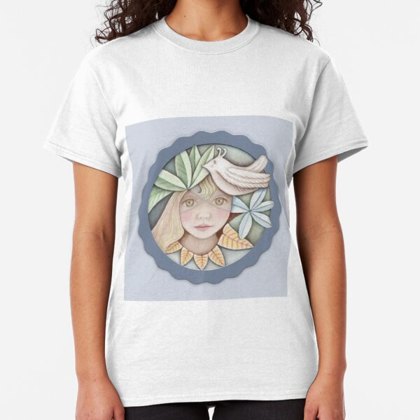 cute blond girl with green leaves and white bird  Classic T-Shirt