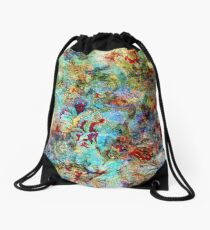 Rustic Colorful Floral Collage Grunge Syle Drawstring Bag