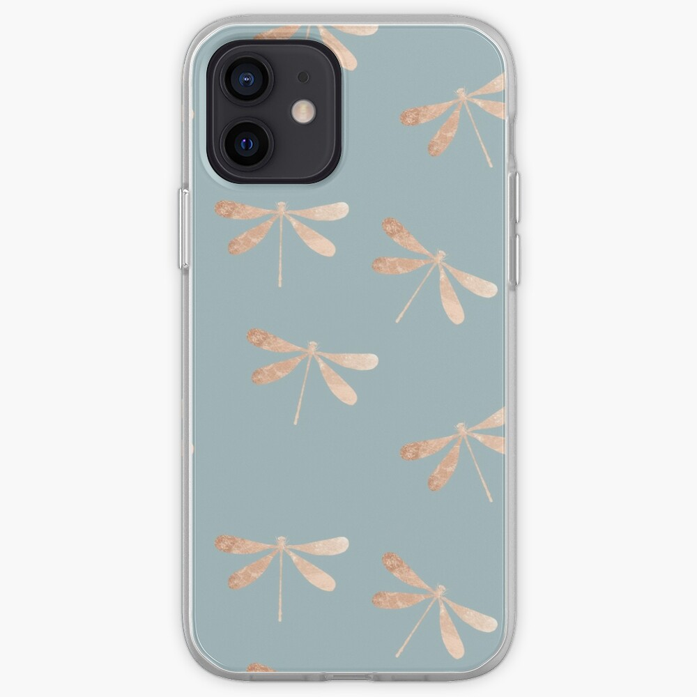 dragonflies: turquoise & rose gold iPhone Case & Cover