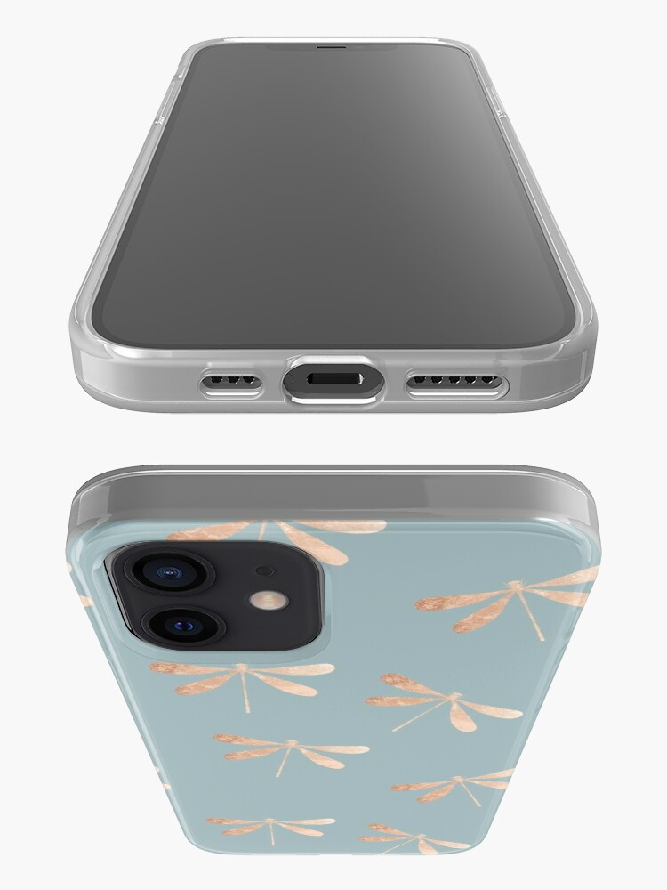 Alternate view of dragonflies: turquoise & rose gold iPhone Case & Cover