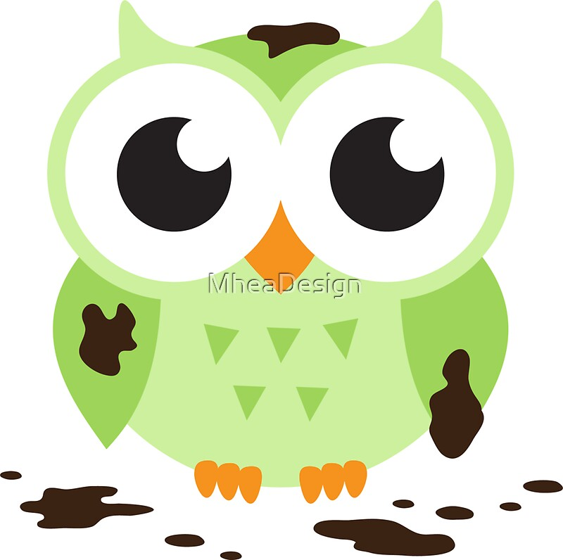 """Cute green cartoon owl covered in mud"" Stickers by"