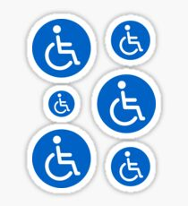Blue disabled symbol, set of round stickers Sticker