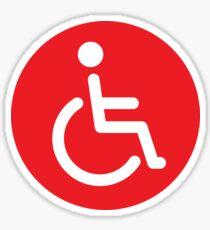 Red disabled symbol, round stickers Sticker