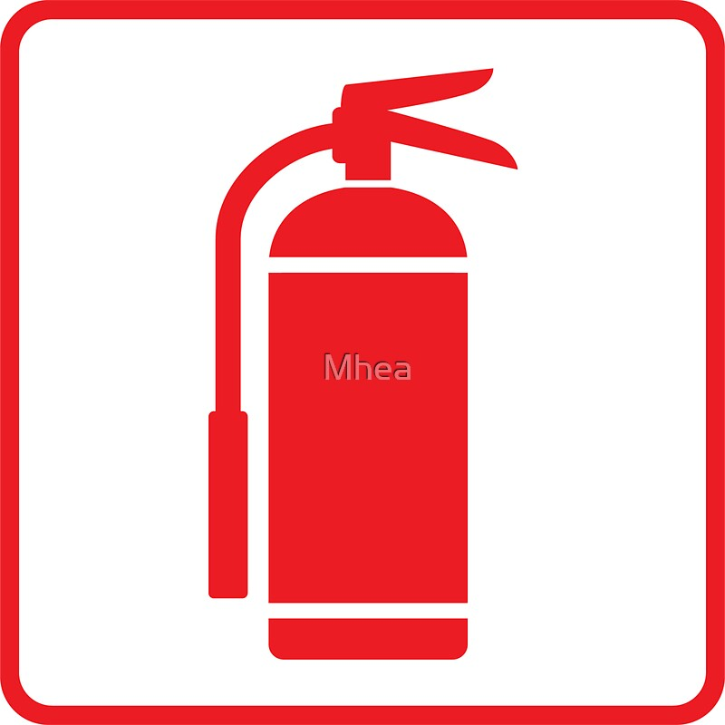 Fire Extinguisher Symbol Red On White With Red Border Stickers By