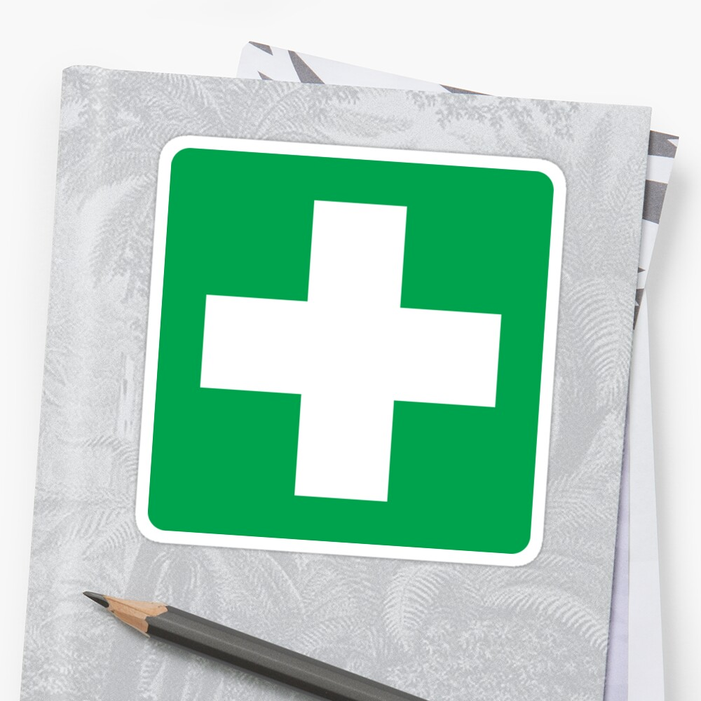 First aid symbol stickers, white cross on green background ...