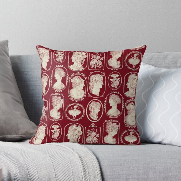Cameos - red Throw Pillow
