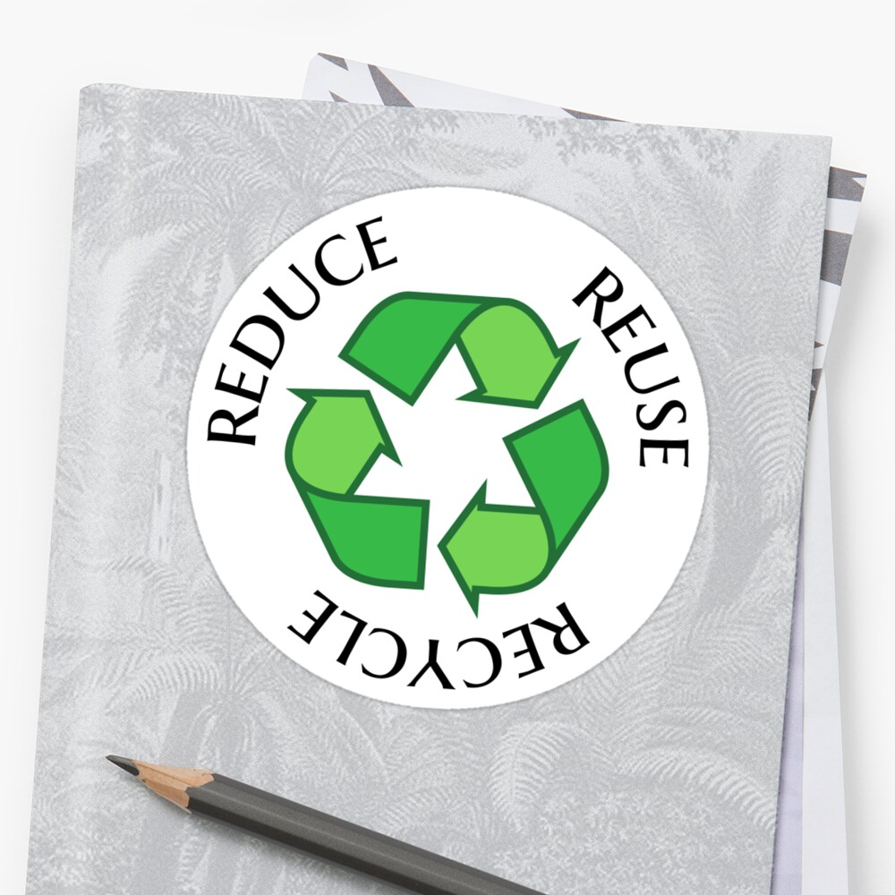 Reduce Reuse Recycle Green Recycling Symbol Sticker And Tote Bag