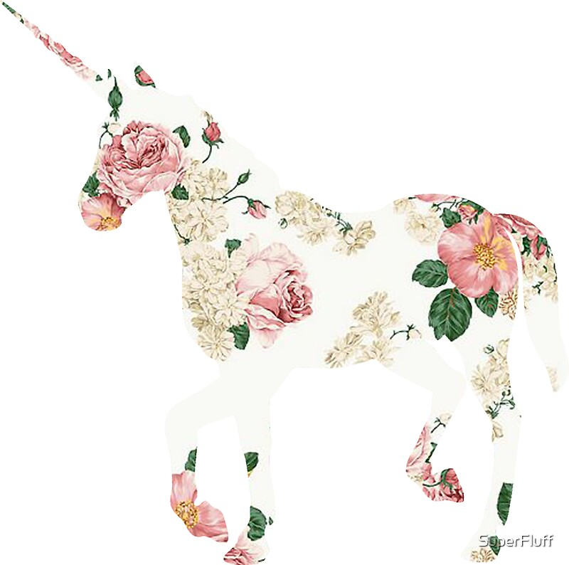 Floral Unicorn Sticker