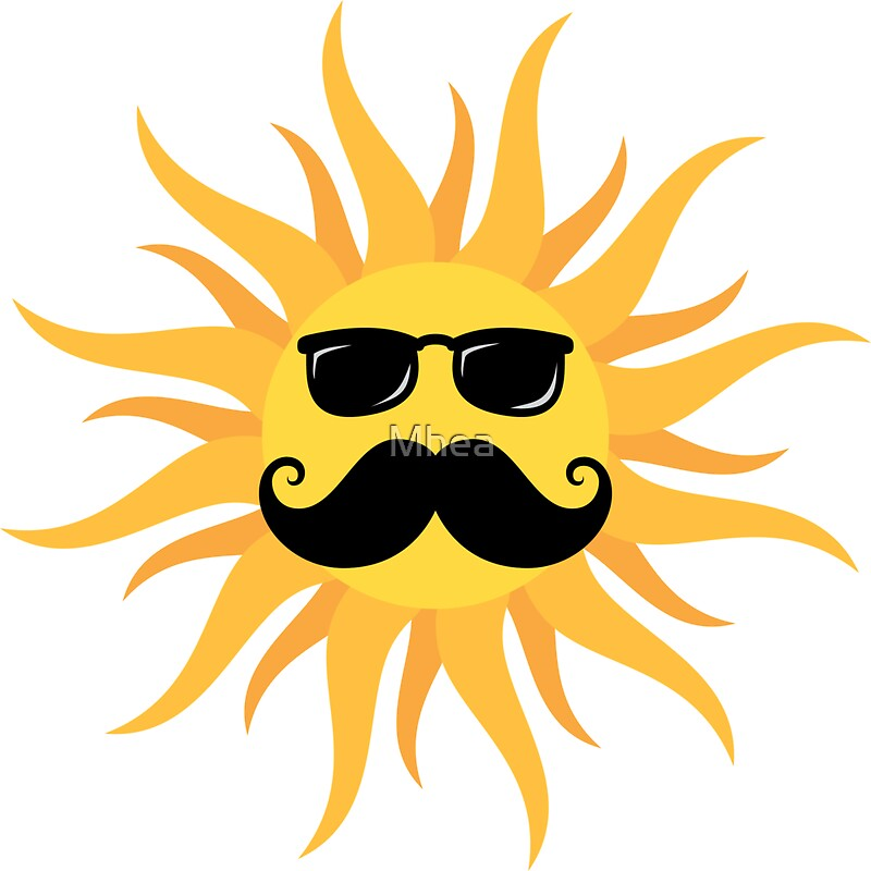 Funny Sun With Mustache And Sunshades Stickers By Mhea