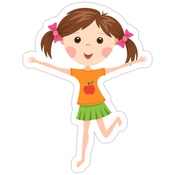 Quot Cute Cartoon Girl With Pigtails Quot Stickers By Mheadesign