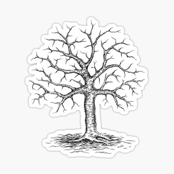 Bare winter tree sticker Sticker