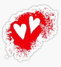 Two hearts on grunge stain stickers, red Sticker