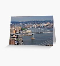 Aerial view to Manhattan bridge and city from Wall street building rooftop Greeting Card