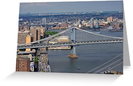 Aerial view to Manhattan bridge and city from Wall street building rooftop by Anton Oparin
