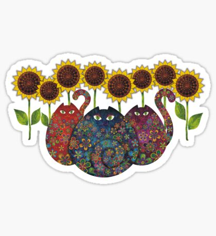 Cats With Sunflowers Sticker