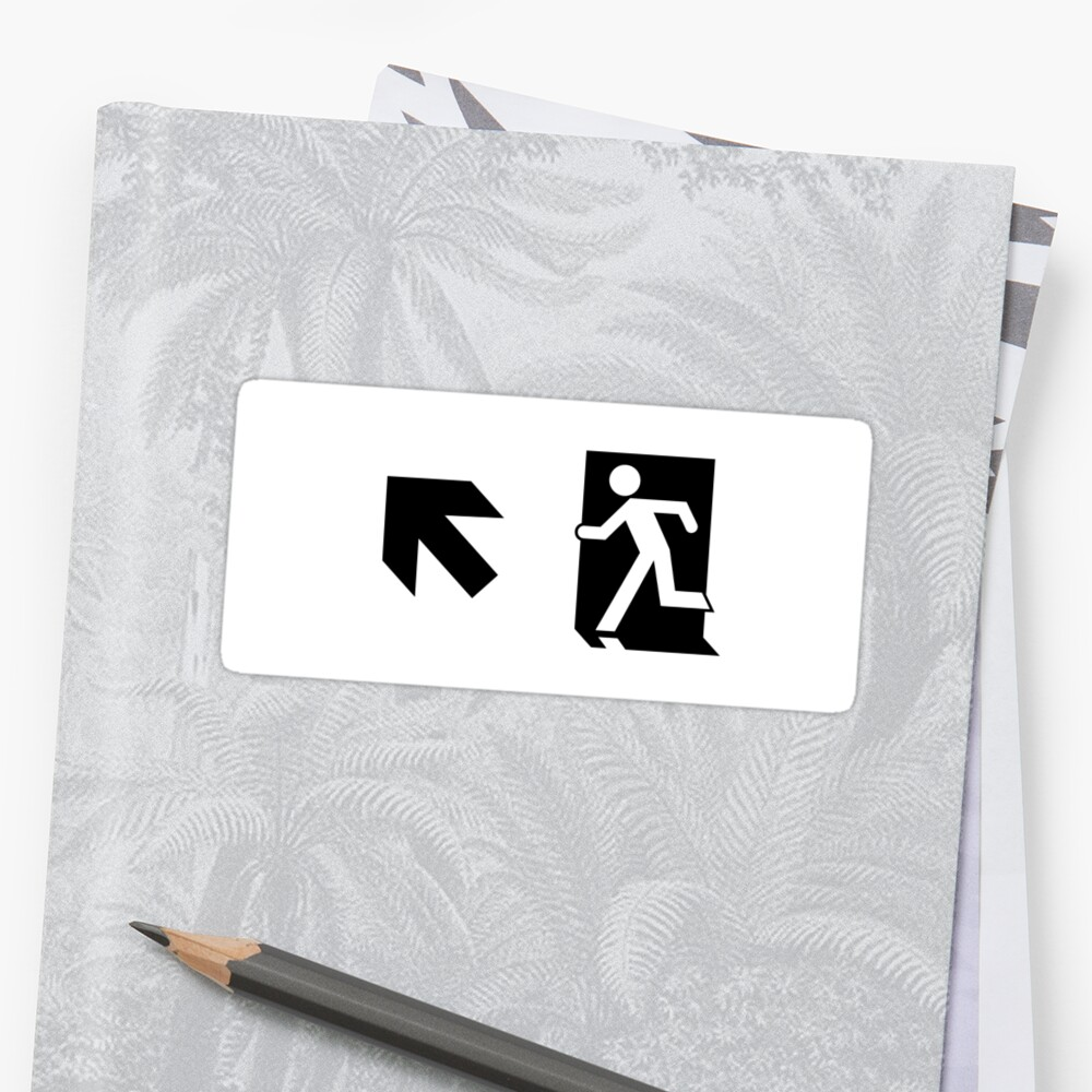 Running Man Emergency Exit Sign, Left Hand Diagonally Up Arrow by Egress Group Pty Ltd