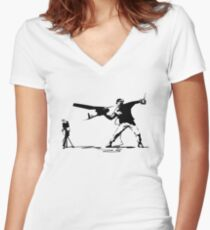 Yank and Banksy Women's Fitted V-Neck T-Shirt