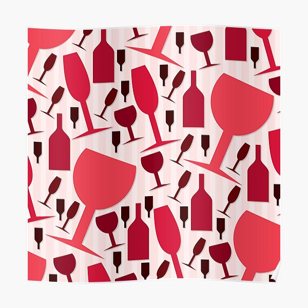 Wine Glass and Bottle Pattern Poster
