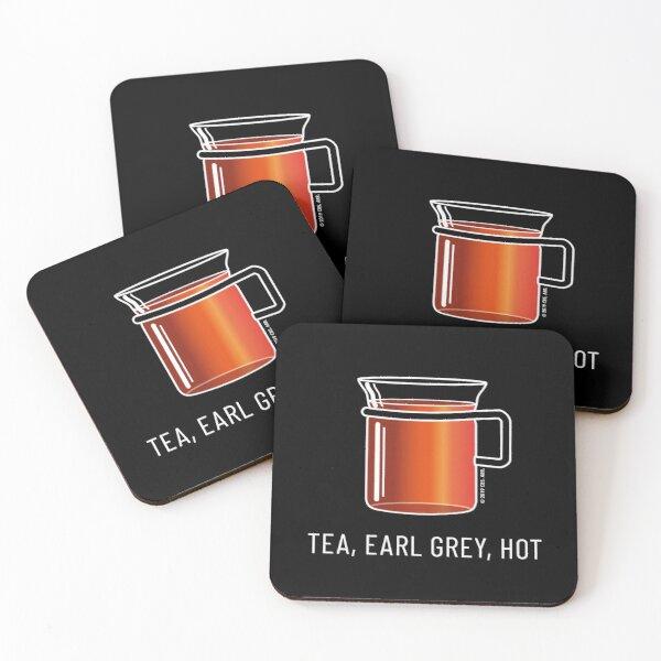 Tea, Earl Grey, Hot - Captain Picard, Star Trek TNG, (dark backgrounds) Coasters (Set of 4)