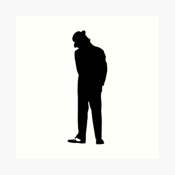 Man with Hat Black Silhouette  Art Print
