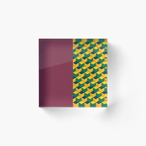 Giyu's Half Solid Half Geometric Traditional Japanese Kimono Pattern Acrylic Block