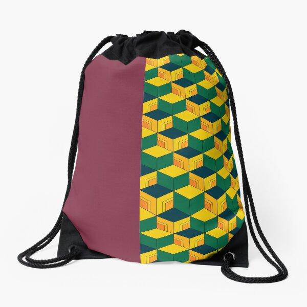 Traditional Japanese Geometric Kimono pattern, Half-Solid Half-Geometric Pattern, Japanese Haori Pattern Drawstring Bag