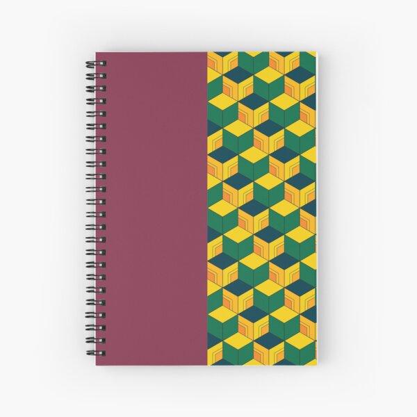 Traditional Japanese Geometric Kimono pattern, Half-Solid Half-Geometric Pattern, Japanese Haori Pattern Spiral Notebook