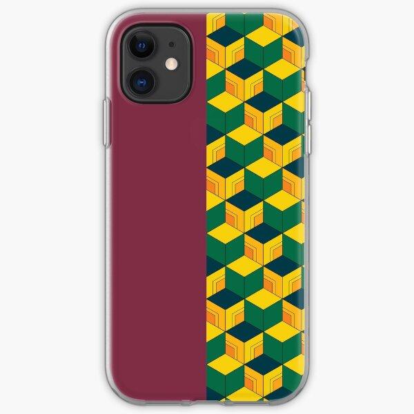 Traditional Japanese Geometric Kimono pattern, Half-Solid Half-Geometric Pattern, Japanese Haori Pattern iPhone Soft Case