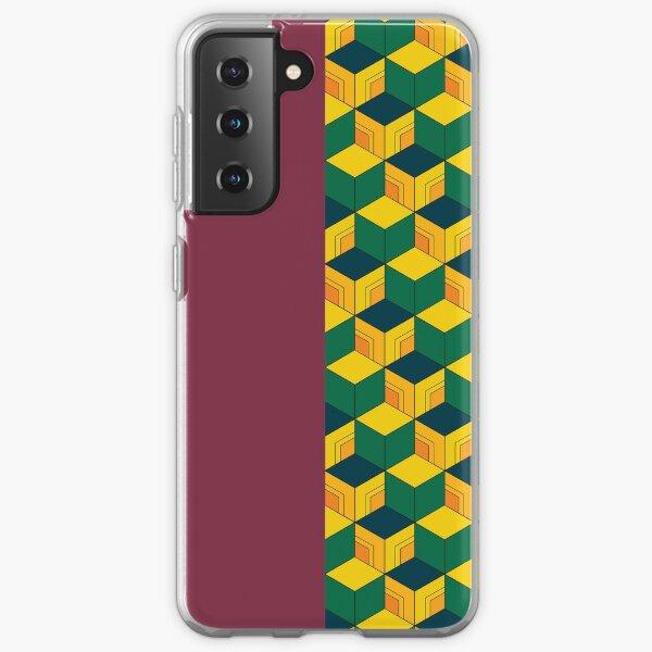 Giyu's Half Solid Half Geometric Traditional Japanese Kimono Pattern Samsung Galaxy Soft Case