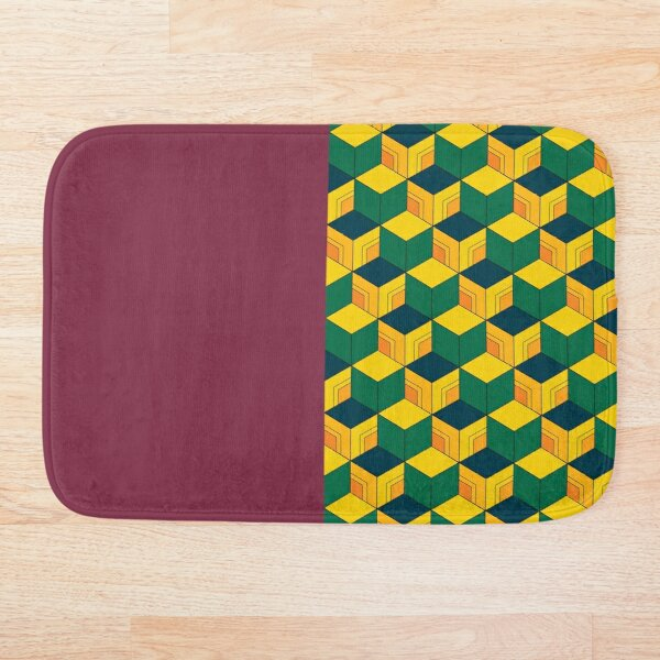 Traditional Japanese Geometric Kimono pattern, Half-Solid Half-Geometric Pattern, Japanese Haori Pattern Bath Mat