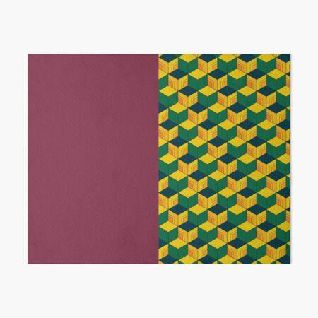 Traditional Japanese Geometric Kimono pattern, Half-Solid Half-Geometric Pattern, Japanese Haori Pattern Art Board Print
